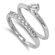 Cubic Zirconia Engagement/ Wedding Ring Rhodium Plated Brass