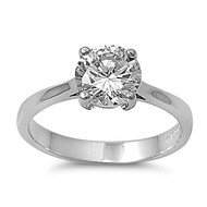 Solitaire Round Inspire Ring Rhodium Plated Brass Cubic Zirconia