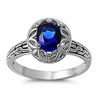 Round Concept Ring Rhodium Plated Brass Simulated Sapphire Cubic Zirconia