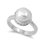Circled Simulated Pearl Ring Rhodium Plated Brass Cubic Zirconia