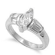 Designer Intent Pear Ring Rhodium Plated Brass Cubic Zirconia