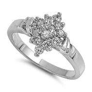 Designer Flower Stones Ring Rhodium Plated Brass Cubic Zirconia