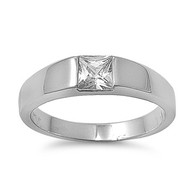 Solitaire Contrive Ring Rhodium Plated Brass Cubic Zirconia