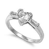 Ice Concept Heart Ring Rhodium Plated Brass Cubic Zirconia