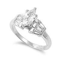 Designer Aura Pear Ring Rhodium Plated Brass Cubic Zirconia