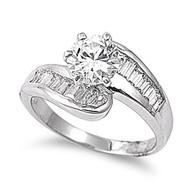 Designer Make Ring Rhodium Plated Brass Cubic Zirconia