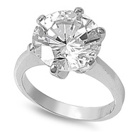 Solitaire Round Stone Ring Rhodium Plated Brass Cubic Zirconia