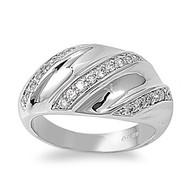 Designer Style Tri Row Ring Rhodium Plated Brass Cubic Zirconia