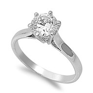 Solitaire Engagement Ring Rhodium Plated Brass Cubic Zirconia