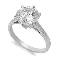 Cubic Zirconia Engagement Solitaire Ring Rhodium Plated Brass