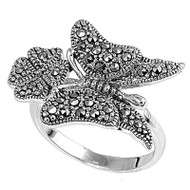 Butterfly Flower Vintage Style Simulated Marcasite Ring Sterling Silver 925