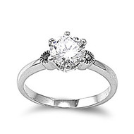Crown Style Solitaire Ring Rhodium Plated Brass Cubic Zirconia Simulated Marcasite