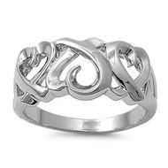 Heart Art Ring Heart Rhodium Plated Brass Cubic Zirconia