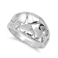 Heart Intent Art Ring Rhodium Plated Brass