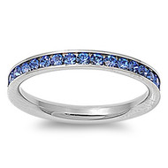 Classic Eternity Simulated Sapphire Cubic Zirconia Ring Stainless Steel