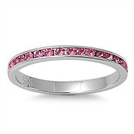 Classic Eternity Pink Cubic Zirconia Ring Stainless Steel