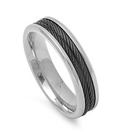 Black Rope Row Ring Stainless Steel