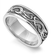 Tribal Flame Biker Ring Stainless Steel