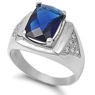 Faceted Radiant Cut Simulated Sapphire Cubic Zirconia Ring Stainless Steel