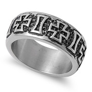 Alternate Iron Cross & Bar Biker Ring Stainless Steel