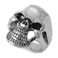 Caveman Biker Skull Ring Stainless Steel