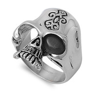 Black Magic Biker Skull Ring Stainless Steel