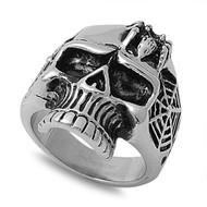 Black Widow Spider Web Corpse Biker Skull Ring Stainless Steel