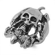 Cobra Snake Pit Biker Skull Ring Stainless Steel