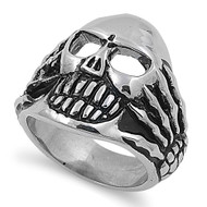 Hands of War Biker Skull Ring Stainless Steel