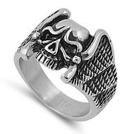 Wings of Treachery Biker Skull Ring Stainless Steel