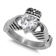 Heart-Shape Cubic Zirconia Claddagh 12MM Ring Stainless Steel