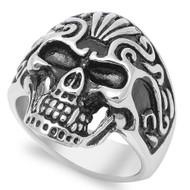 Swirl Design Skull Ring Stainless Steel