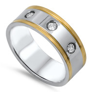 Three Stones Two Toned Band Ring Stainless Steel