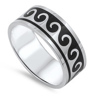 Maori Wave Pattern Band Ring Stainless Steel
