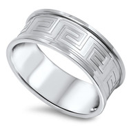 Knife Edge Greek Pattern Ring Stainless Steel