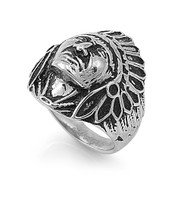 Chief Native American Ring Stainless Steel