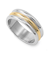 Two Toned Tri Rows Ring Stainless Steel