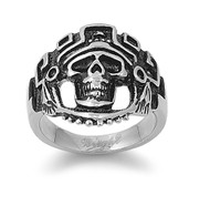 Aztec Skull Biker Ring Stainless Steel
