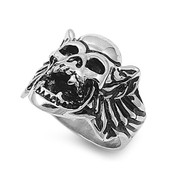 Demon Skull Biker Ring Stainless Steel