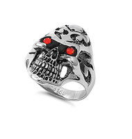 Demon Skull Simulated Garnet Cubic Zirconia Biker Ring Stainless Steel