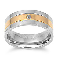 Two-Toned Solitaire Band Ring Stainless Steel