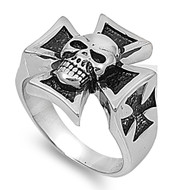 Iron Cross Skull Biker Ring Stainless Steel