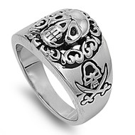 Captain Pirate Skull Biker Ring Stainless Steel
