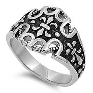 Fleur De Lise Biker Ring Stainless Steel