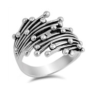 Abstract Dots Fashion Ring Sterling Silver 925