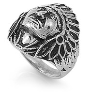 Native Indian Chief Ring Stainless Steel