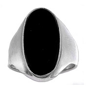 Bezel Oval Simulated Onyx Stone Ring Sterling Silver 925