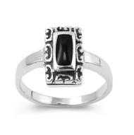Filigree Noveau Rectangular Simulated Onyx Stone Ring Sterling Silver 925