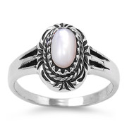 Filigree Noveau Oval Simulated Mother Of Pearl Stone Ring Sterling Silver 925