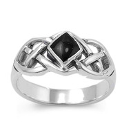 Wicca Weave Princess Cut Simulated Onyx Stone Ring Sterling Silver 925